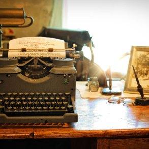 Vintage desk and typewriter