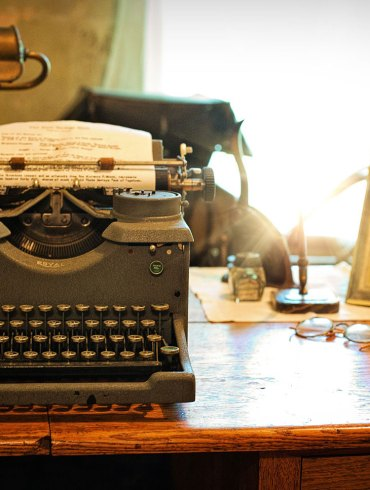Vintage desk and typewriter