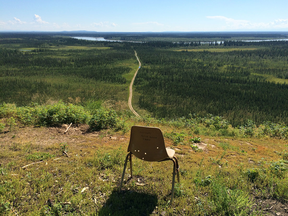 View from Bonanza Creek bluff, with chair