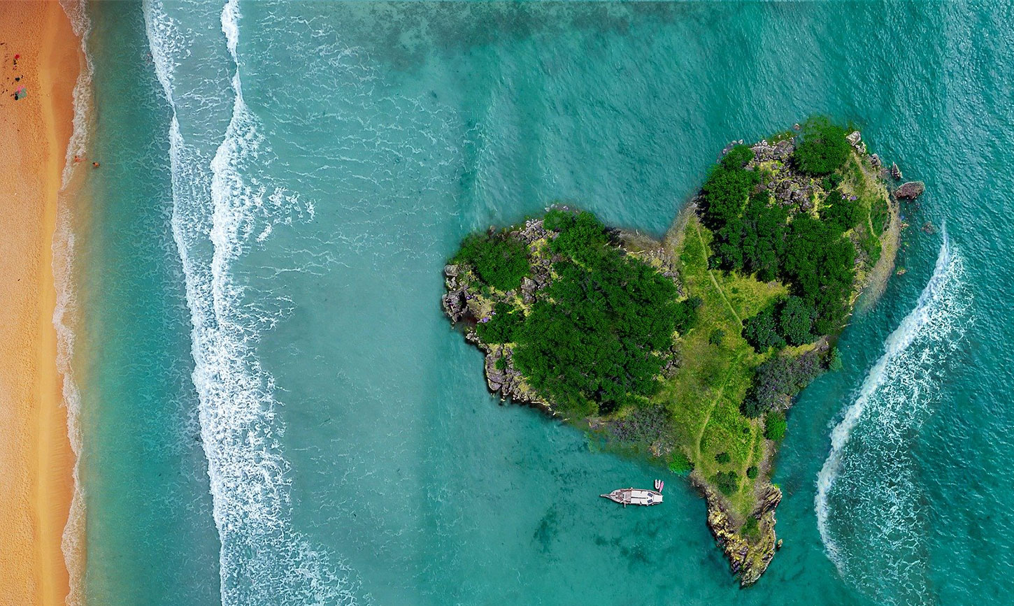 Tropical heart-shaped island