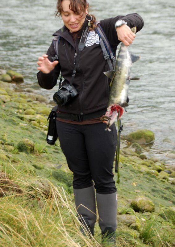 Hannah Hindley holds a salmon