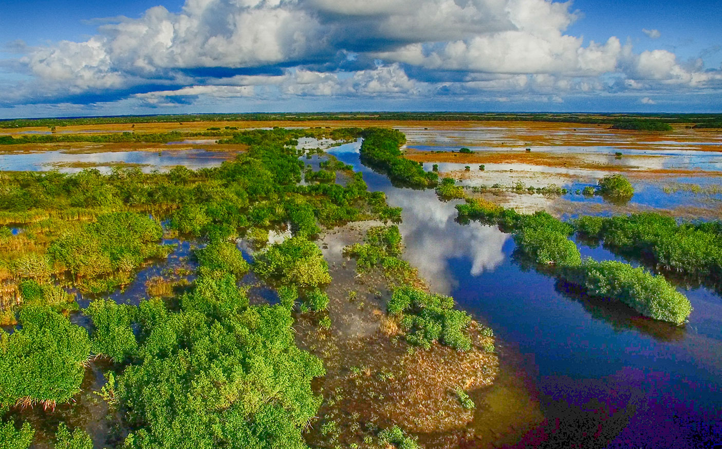 Aerial view of the Everglades and Lake Okeechobee