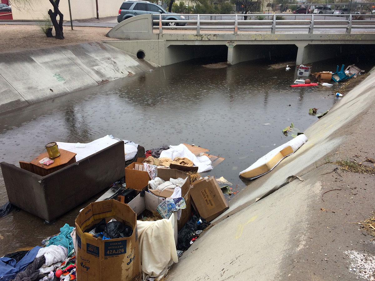Debris in a flood culvert
