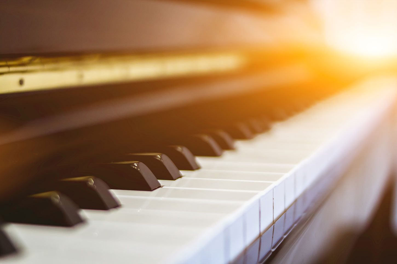 Piano keys in morning light