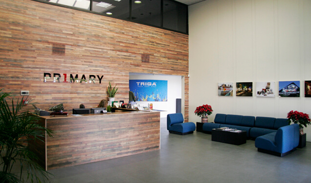Reclaimed wood in lobby at Primary Color