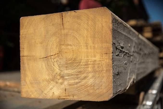 Reclaimed lumber beam