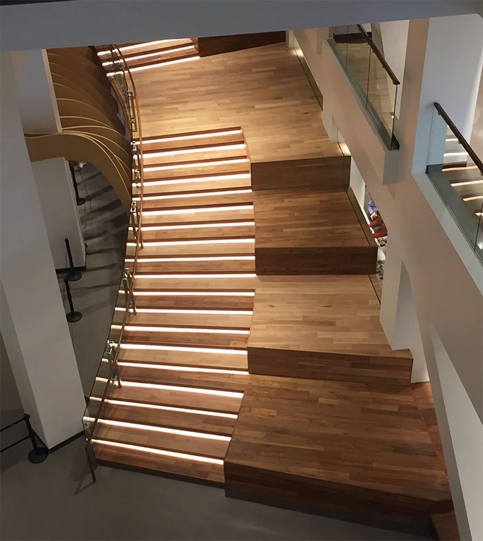 Rethinking The Humble Stair Tread 8 Reclaimed Wood Stair Tread | Distressed Wood Stair Treads | Oak Stair | Bullnose Manufacturing | Straight Edge Wood | White Oak | Heavy Timber Stair