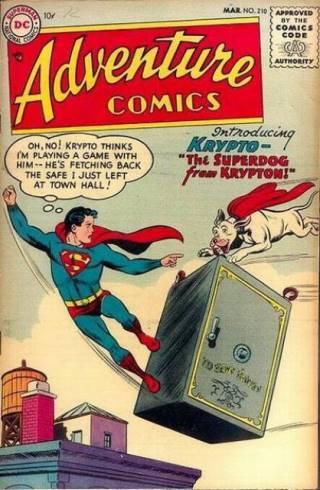 Krypto en su primera aparición en un cómic de Superman