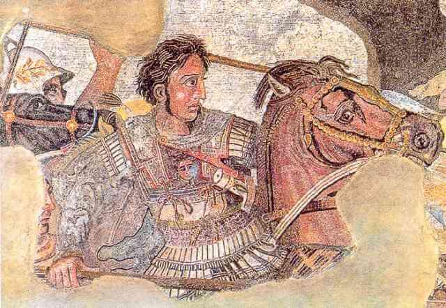 Bucéfalo, representado con una pintura