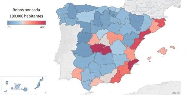 mapa del robo de viviendas en España