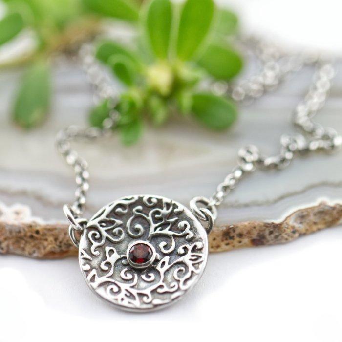Swirl Leaf Necklace-Terra Rustica Jewelry