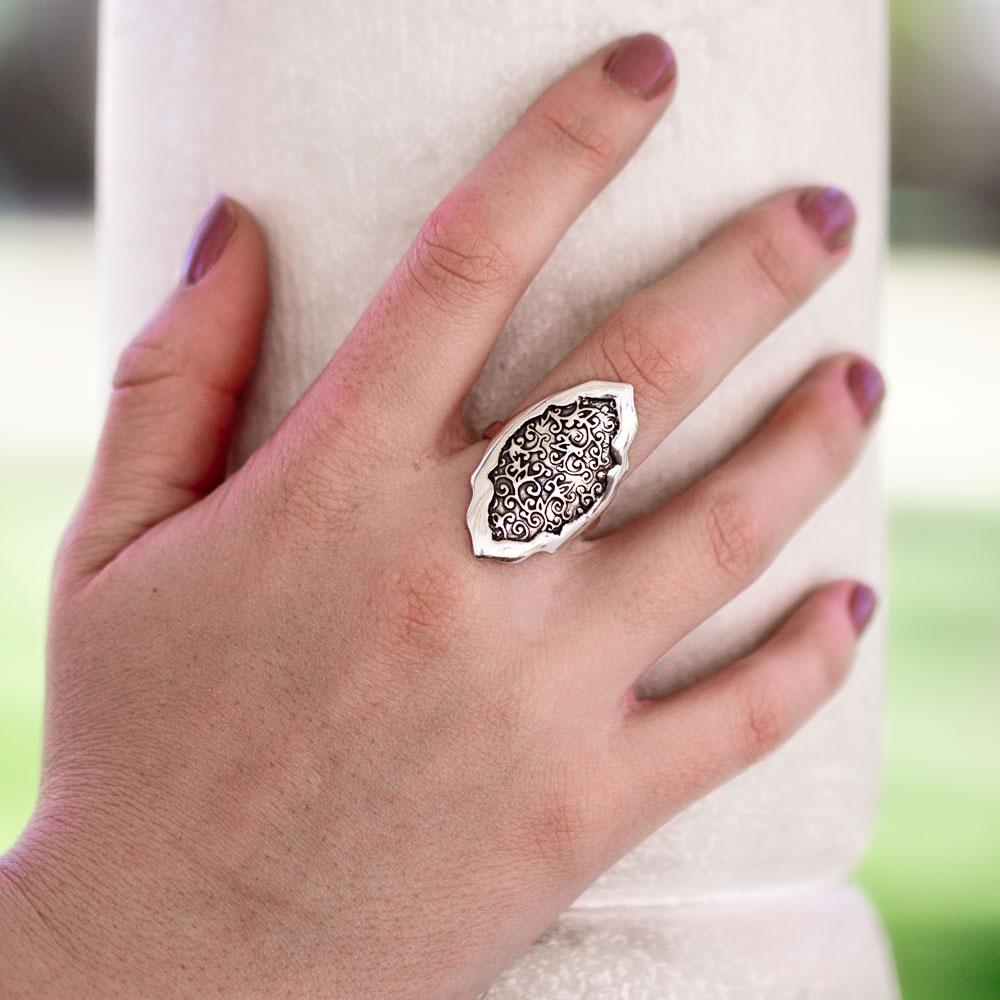 Swirl Leaf Moroccan Ring-Terra Rustica Jewelry
