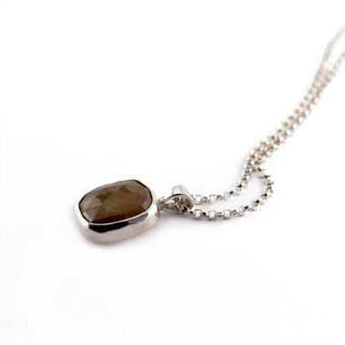 Brown Sugar Rose Cut Sapphire Necklace-Terra Rustica Jewelry