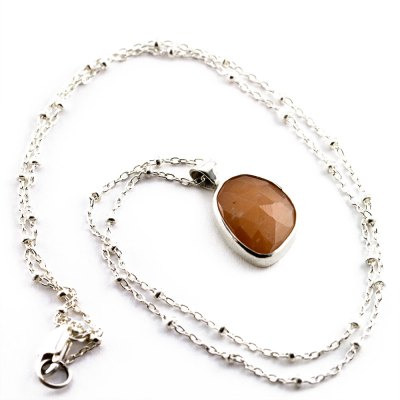 Peach Moonstone Rose Cut Necklace-Terra Rustica Jewelry