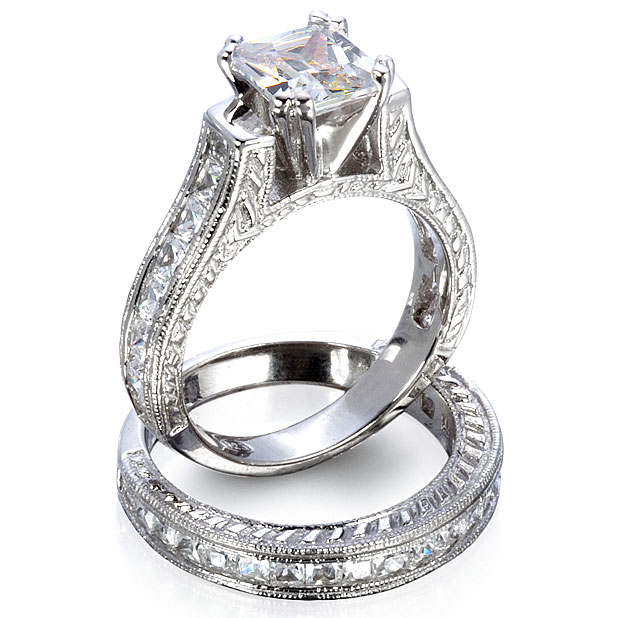 Sterling Silver Princess Or Round Brilliant Cut Cathedral