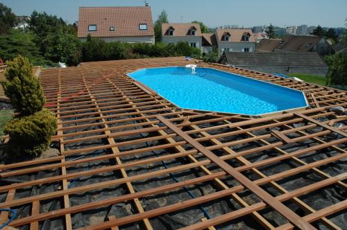 Double Structure Pour Terrasse De Piscine En Lambourdes Bois