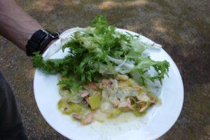 crok'midi salade du jardin et saumon aux poireaux