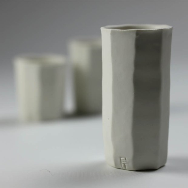 Trio Tasse KF 5 | Eric Faure | Trio de Tasses à Café | Produit | 54,00€ | 6291 | 3 tasses à café tournées et sculptées en porcelaine émaillée | Eric Faure | Terre et Terres | 30 avril 2021