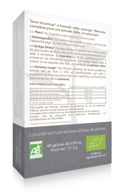 Mémoire bio - 40 gélules – Soutien des performances cognitives et de la mémoire des séniors