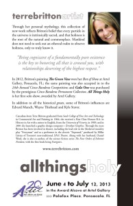 "Terre Britton: Artist Bio for ""All Things Holy"""
