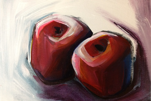 """Twins""  (c)2012 – Acrylic on Canvas Board, 12″ x 9"""