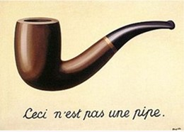 """Ceci n'est pas une pipe"" ('This is not a pipe'), in ""La trahison des images"" ('The Treason of Images), 1929, by René Magritte."