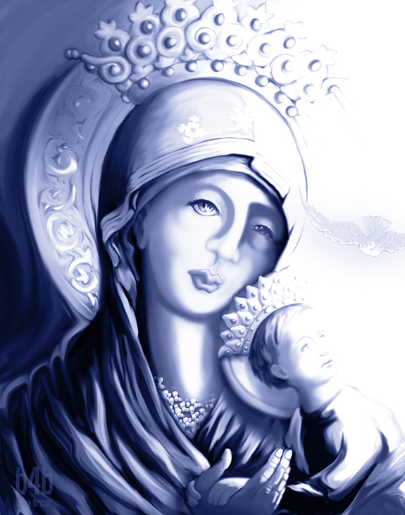 """The Blue Madonna -- Unconditional Love; Unconditional Sorrow,"" Digital, 2014, by Terre Britton."