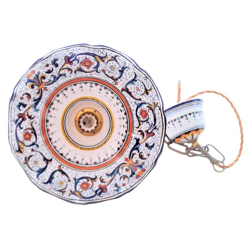 Diffusore in ceramica ondulato dipinto a. Lampadario Ceramica Maiolica Deruta Dipinto A Mano Decoro Ricco Deruta Blu Ondulato