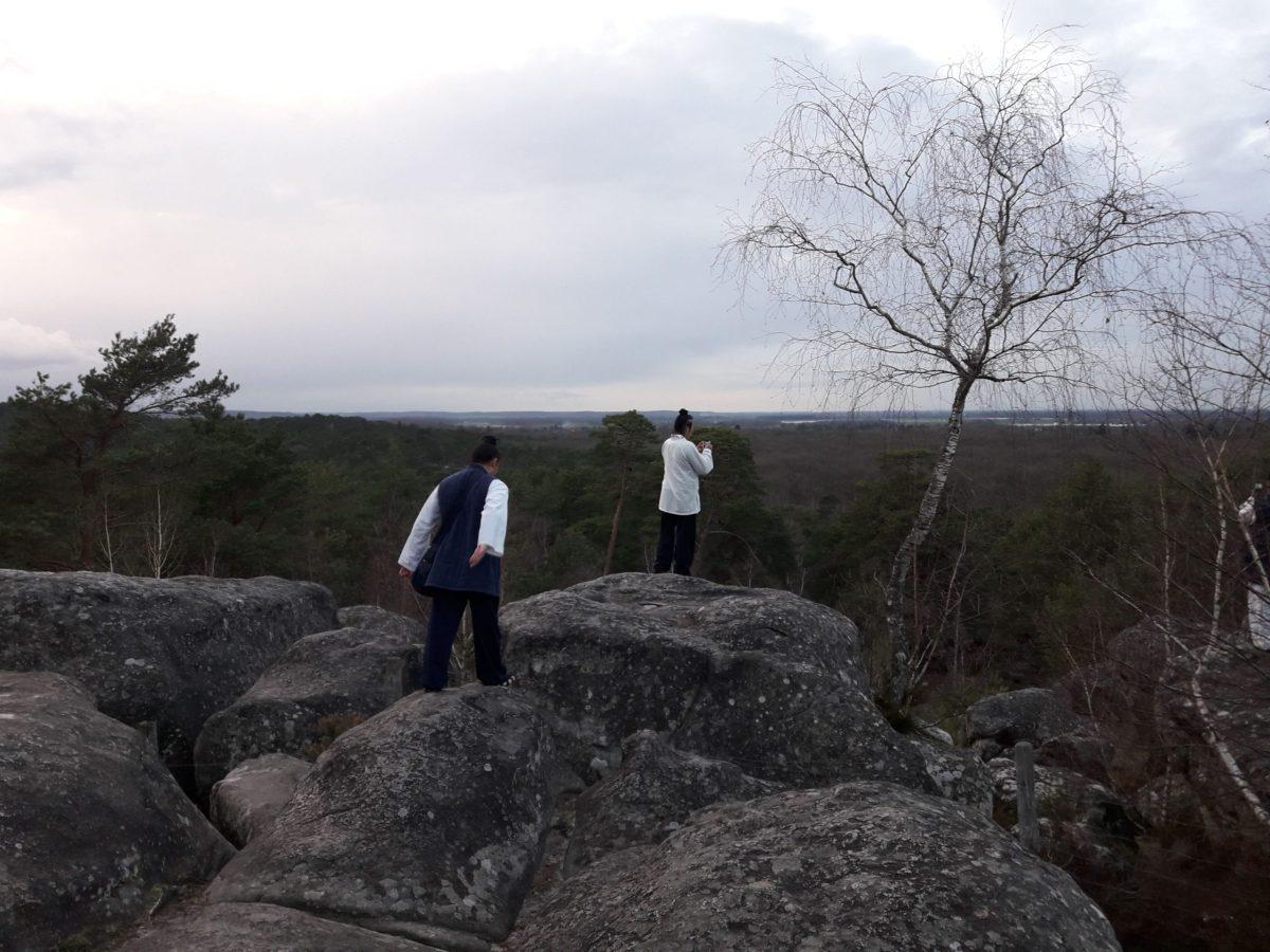 Maître Yuan Limin et ses disciples sur les rochers de Barbizon - 4
