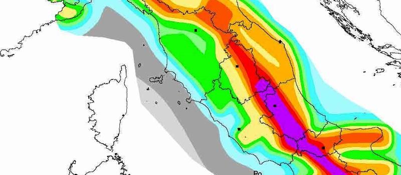 Mappa sismica INGV dell'Italia centrale