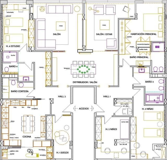 unión de dos pisos. plano planta
