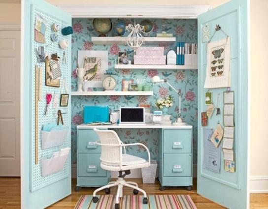 como decorar un espacio pequeño. despacho escondido