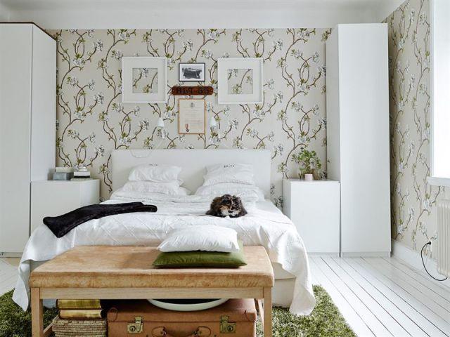 como decorar un espacio pequeño. dormitorio papel