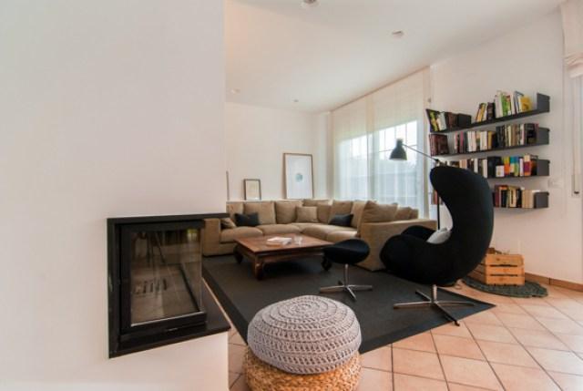 diferentes ambientes en un mismo espacio interior. vista salon