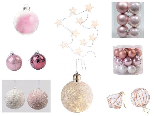 Adornos rosas en la decoración del árbol de Navidad