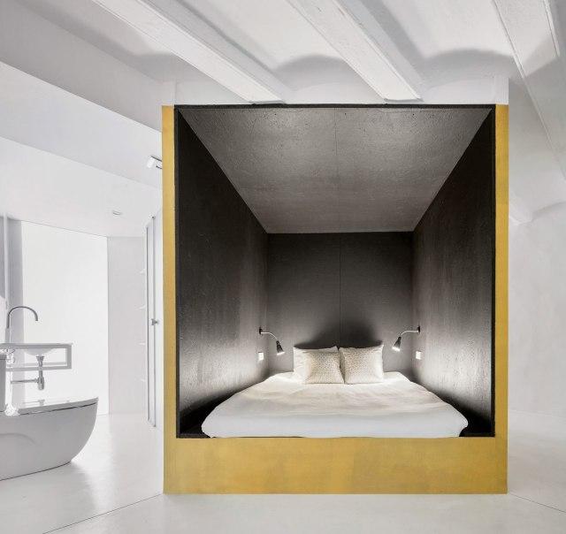 Dormitorio en un cubo en el dúplex Tibbaut