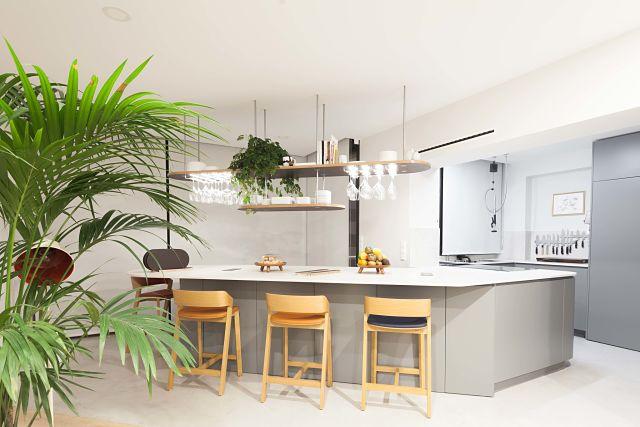 barra y taburetes en cocina de diseño