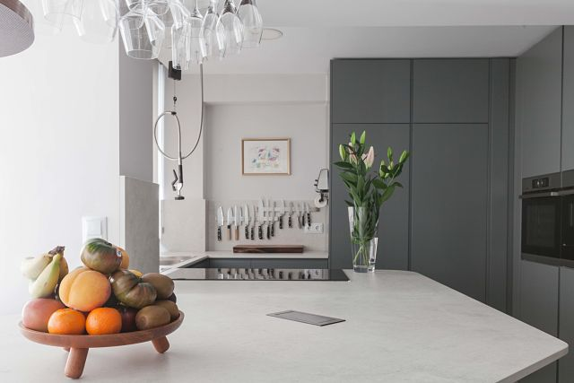 Vista en detalle de la cocina de diseño