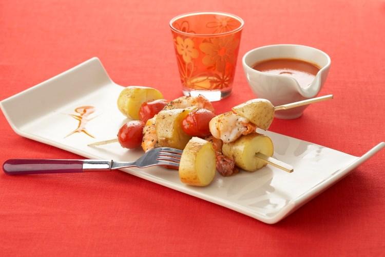 Brochette pomme de terre crevette tomate TerroirEvasion.com
