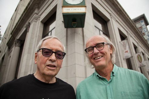 Left: Philip Owen, the straight-laced mayor turned crusader for drug users. Right: Donald MacPherson, the street-wise community organizer turned policy wonk.  (Photo: Chris Grabowski/The Tyee)