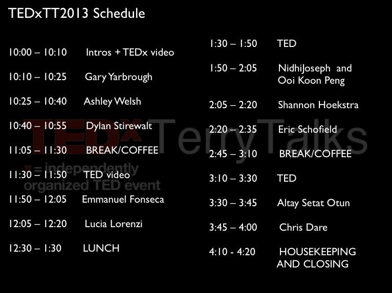 TEDXTT2013schedule