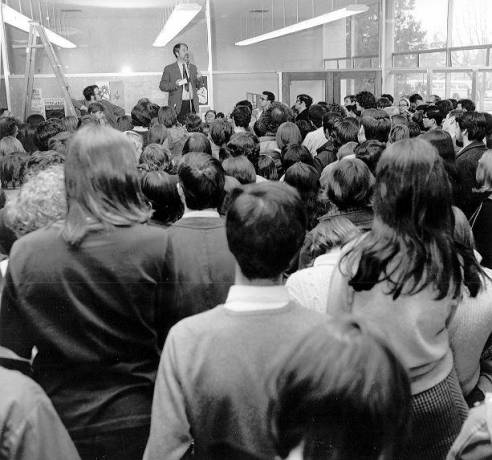 UBC students protest in support of English professors Brain Mayne and David Powell | Photo courtesy of UBC Archives.