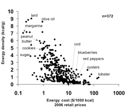Food Cost vs. Energy Density