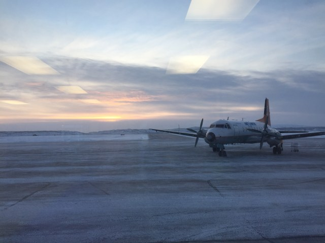 There's the sun! Our plane arriving at Inuvik airport at noon.