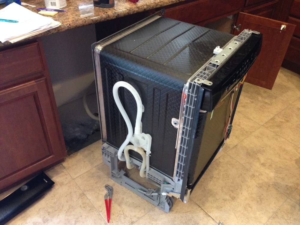 medium resolution of bosch dishwasher removed from cabinet showing drain pipe