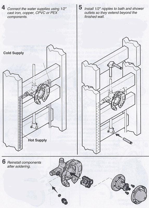 Installing a Kohler Rite-Temp bath & shower valve, K-304