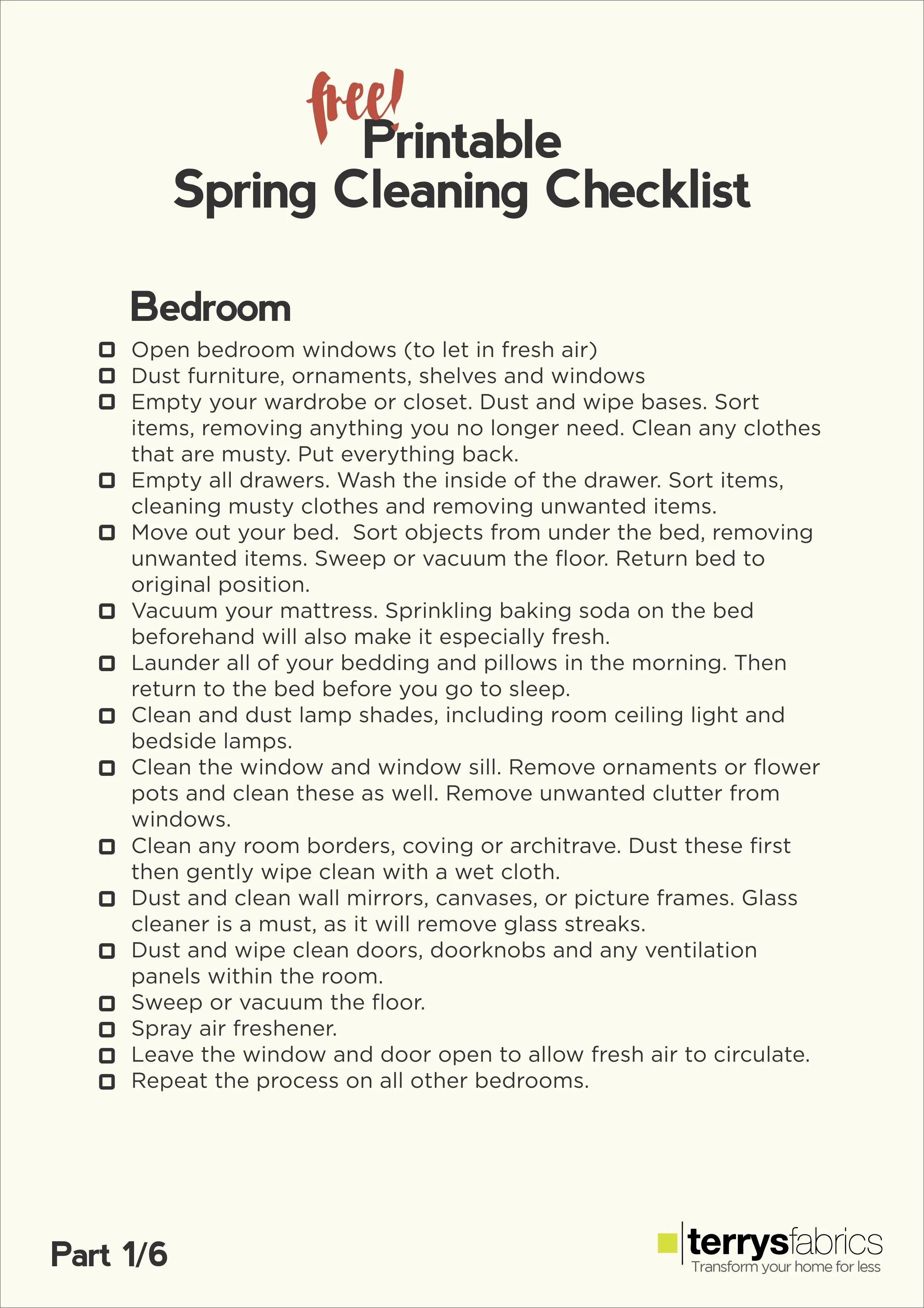 The Ultimate Spring Cleaning Free Printable Checklist | ecogreenlove