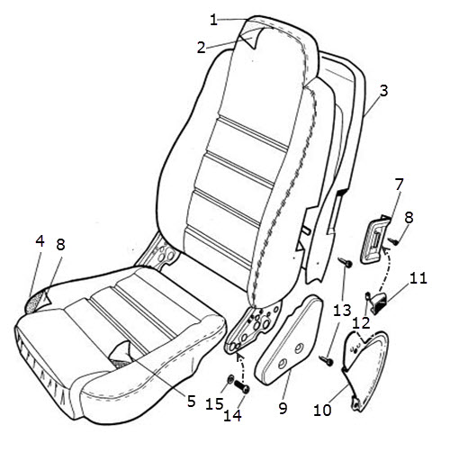 Seat, Front, Autolux Leather, Integral Headrest: Terrys