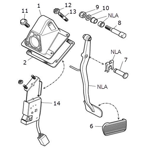 Brake Pedal and Housing 4.0 Liter V8: Terrys Jaguar Parts