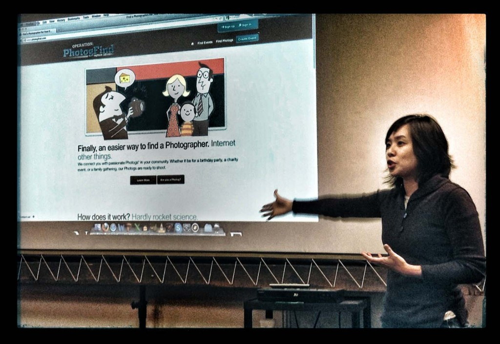 Geraldine Teotico tells Creatvie Boot Camp students about Photogfind.